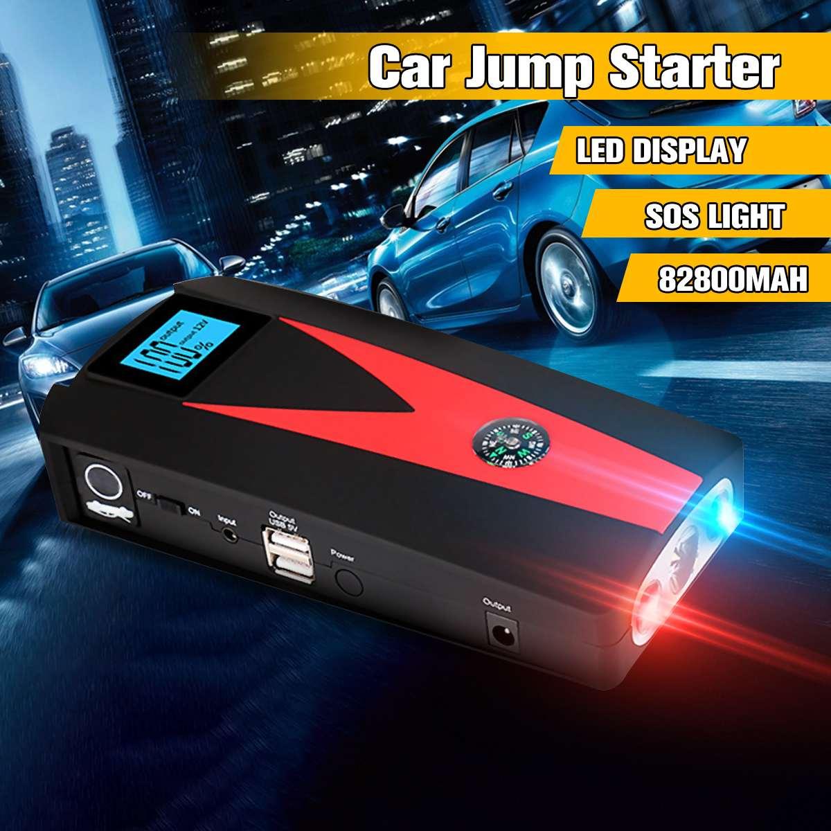 12 V 82800 mAh LED démarrage de voiture démarreur batterie externe Booster 2 USB chargeur batterie étanche voiture chargeur de batterie dispositif de démarrage