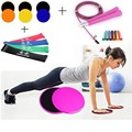 XC 2Pcs Gliding Discs Slider Fitness Disc Full Set Workout Equipment Including 4Level Resistance Bands Jumping Rope Glide Plates