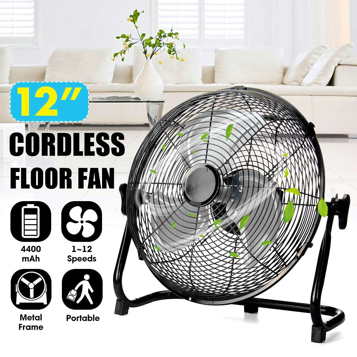 New Arrival 2019 12 Inch Portable Brushless Fan Household 12V Handle Air Cooling Floor Fan Cooler 12 Speed Level for Office Home