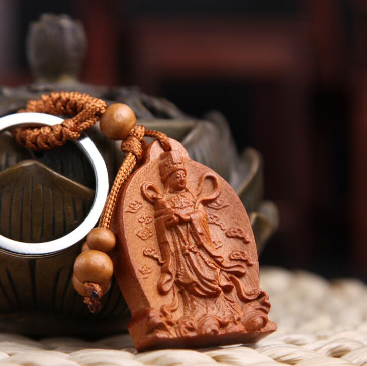Wood Carved Chinese Safeness Amulet Statue Sculpture Pendant Key Chain 平安