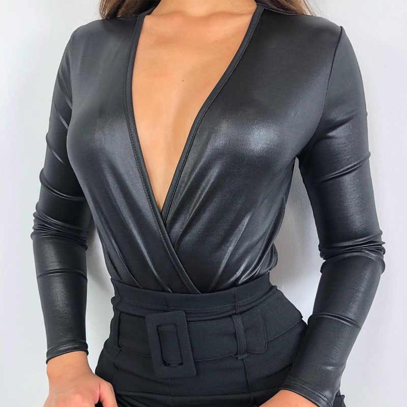 Sexy Vrouwen PU Lederen Bodysuit Diepe V-hals Turnpakje Top Body Womens Rompertjes Jumpsuits Lange Mouwen Clubwear