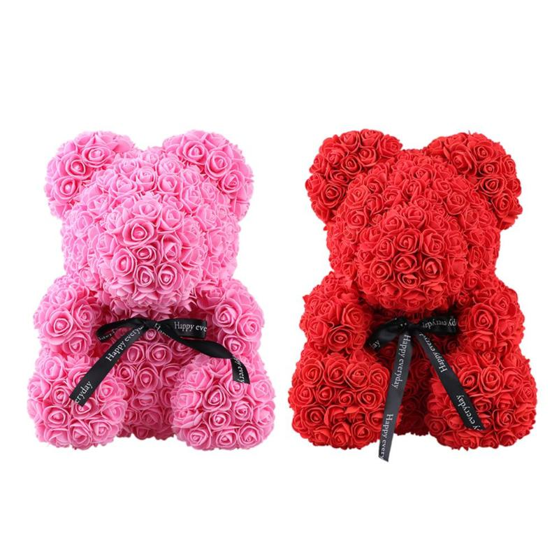 Artificial Decorations Romantic Rose Bear Toy Women Girls Soap Flower Birthday Wedding Decoration Party Anniversary Valentines Day Gift For Girlfriend Artificial & Dried Flowers