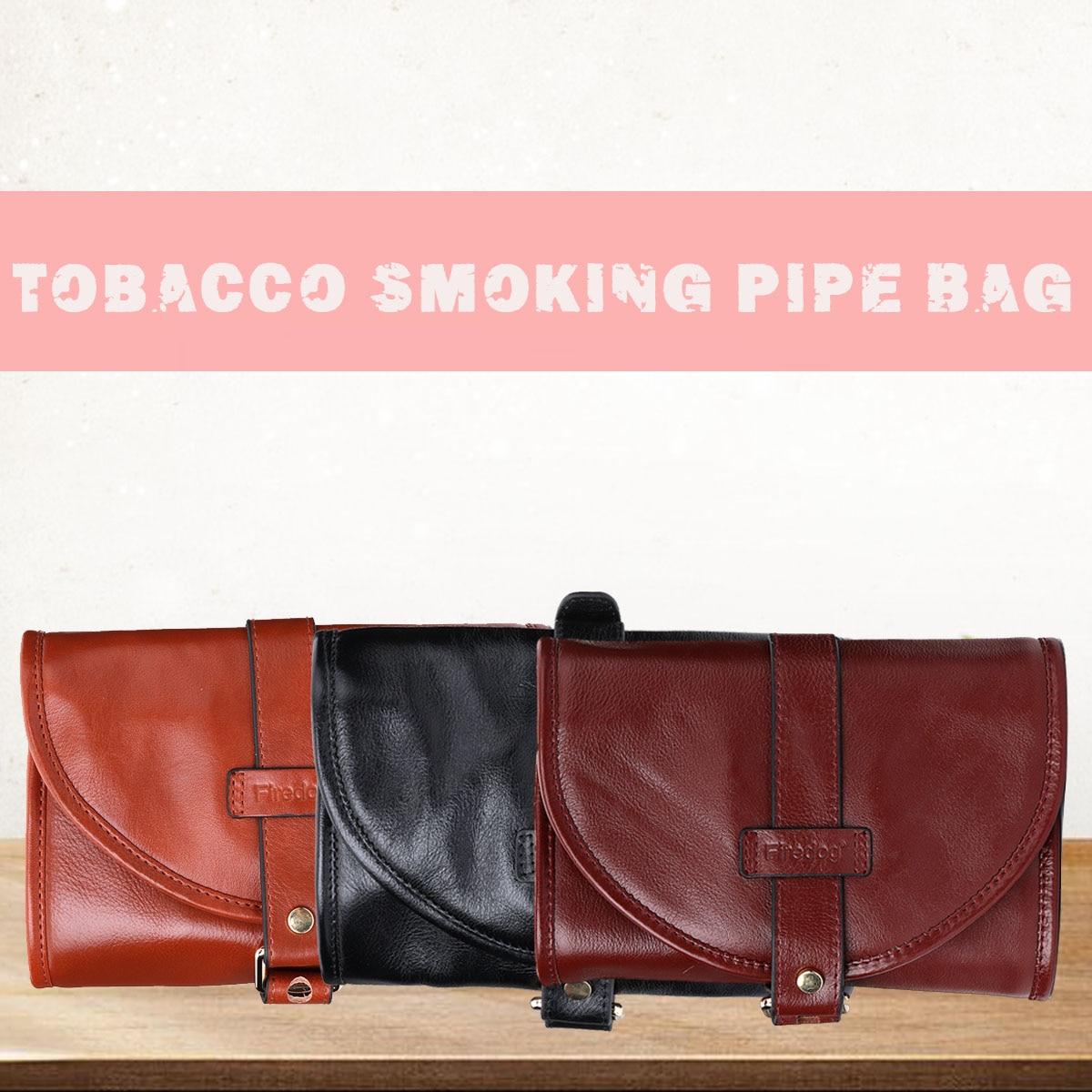 Pochette de tabac en cuir de Style Vintage FIREDOG sac de rangement portable bien cousu et durable pour 2 tuyaux de tabac
