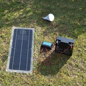 Image 5 - 18 v 10 ワット単結晶ソーラーパネル + 10A 充電コントローラバッテリー充電器キット + led ライト rv 車ボート観光ソーラーランプ 3 ワット