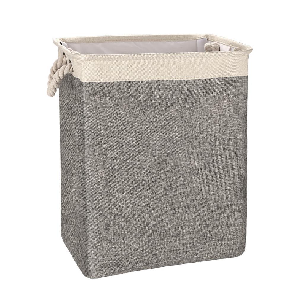 Organizer Foldable Cotton Linen Square Hamper Storage Basket Storage Basket Glass Fiber Tube Support Cotton Rope Laundry Basket