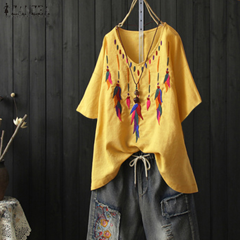 2020 Summer  Embroidery Blouse ZANZEA Women V Neck Short Sleeve Shirts Casual Vintage Loose Cotton Blusas Party Tunic Tops