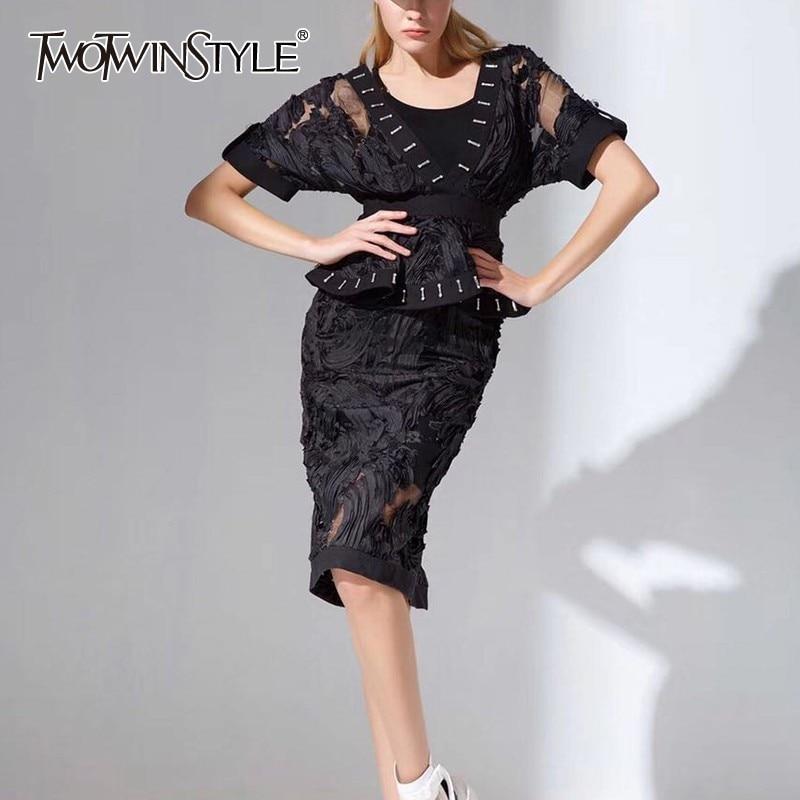 Vestido V Mujeres Corta Patchwork Moda Manga Longitud Bordado Cuello bf67Yyg