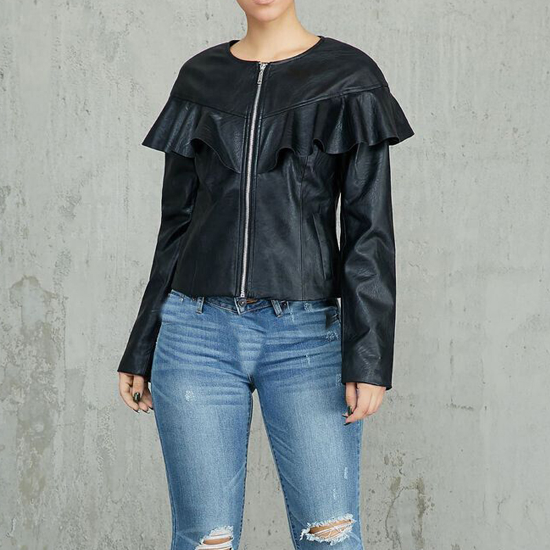 Black PU Leather Jackets Coats Long Sleeve Ruffles Autumn Winter Women's  Basic Jackets Sexy  Streetwear Zipper