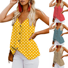 2019 hot selling Spring and summer Sexy Polka Dot Printed Button Top Camis top V-neck 4 colors suit for lady