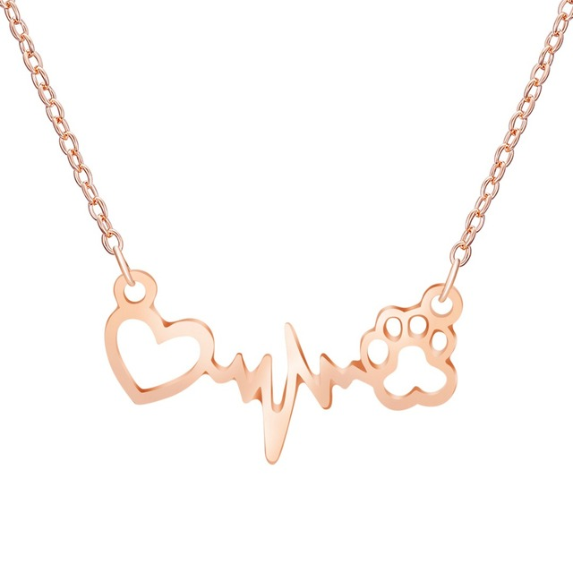 Lovely Paw Print Love Heart Heartbeat Pendant Chain Necklace