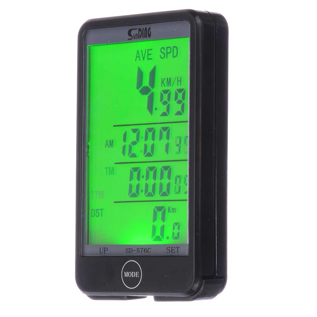 Inglês Digital LEVOU Luminosa noctilucentes Tabela de Códigos de Bicicleta À Prova D' Água Mountain Bike Sem Fio Velocímetro Luminosa