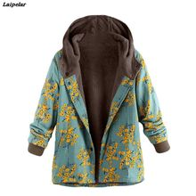 Laipelar Winter Coats Women Floral Printed Hooded Warm 2018 Parka Vintage Oversize 5XL Femme Jackets Manteau Hiver