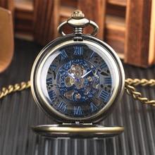 Mystical Black Dial Mechanical Pocket Watch Transparent Hunter Blue Roman Numerals Display Hand Winding Pocket Watch for Men
