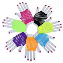 Fashion Women Bride Glover Party Lace Fingerless Wrist Glover Mesh Sexy Fishnet Short  Gloves Solid Color White Black