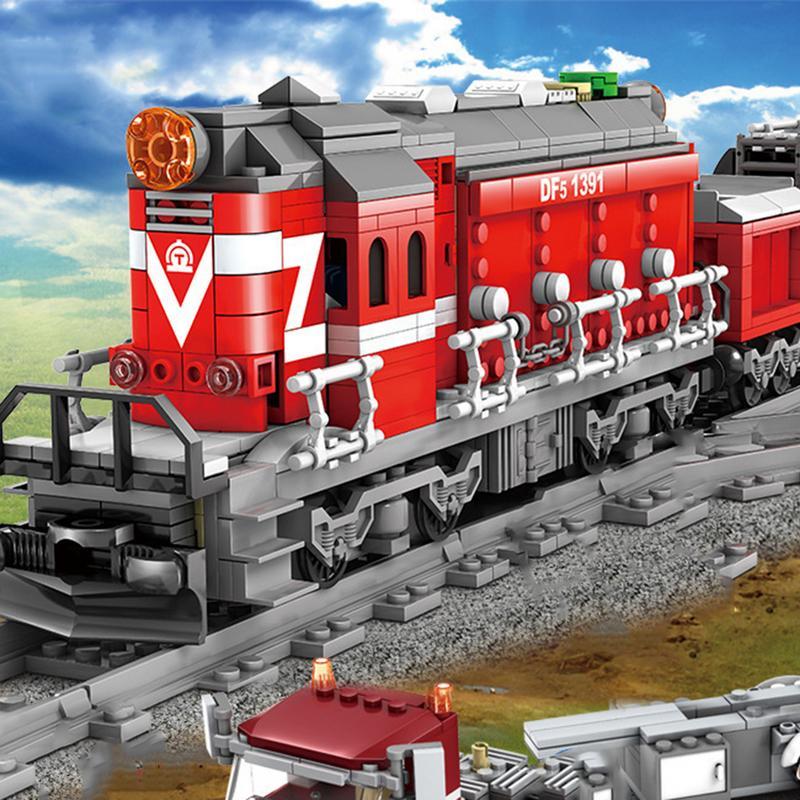 DIY Assemblé Blocs de Construction Électrique Rail Train Diesel Locomotive Train Station Pistes Ensemble Kits Blocs de Construction Pour Enfants Jouets