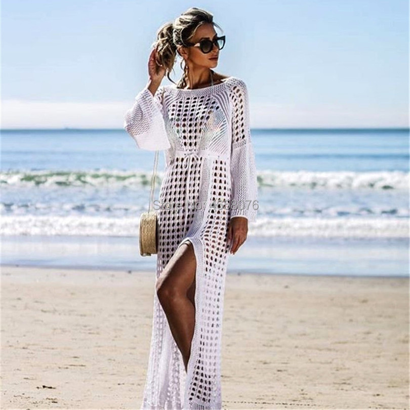 Pareo Beachwear Beach Cape Summer For Women's Cover Up Women Clothing Ups New Sexy Hollow Knitted Skirt Long Sleeve Shirt Solid