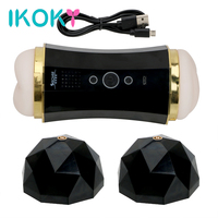 IKOKY Sex Toys for Man Male Masturbation Cup Real Pussy Voice Sex Machine Dual Hole Vibration Artificial Vagina Sucking Oral Sex