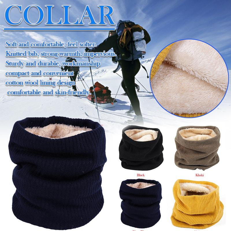 Scarf Neck-Warmer Skiing Hiking Outdoor Winter Women Man Thick Knit Faux-Fur Comfortbale