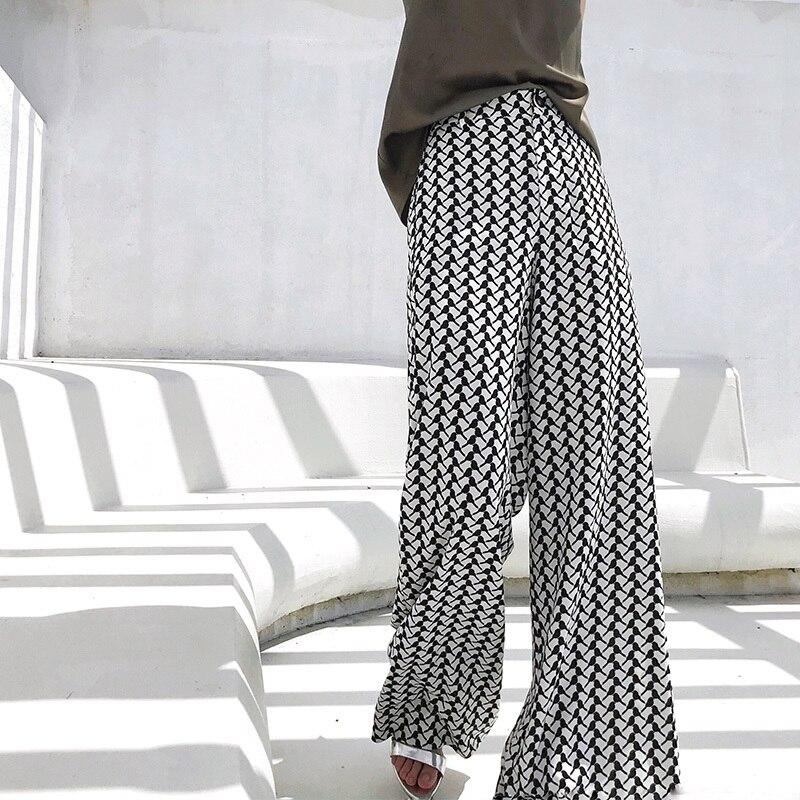 Personnalité Pantalon Noir Taille Plaid Birdie Nouveau Blanc Lâche Printemps Fi2680 Jambe Grande Bas Élastique Large 2019 Shengpalae ID9EH2W