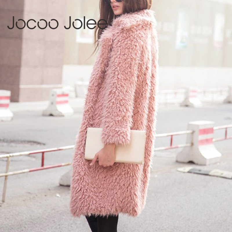 Jocoo Jolee Women Thicken Winter Jacket Women's Fashionable Coat Cardigan Fluffy Long Faux Fur Coat European Style Outerwear