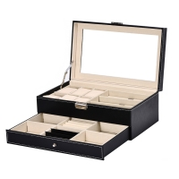 Double Layer 6 + 3 Grid Watch Glass Holder Pu Leather Watch Box Ring Bracelet Storage Jewelry Display