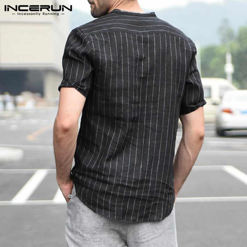 メンズストライプ半袖ドレスシャツ夏 v ネックボタンプルオーバー古典白黒シャツ通気性の綿リネン INCERUN
