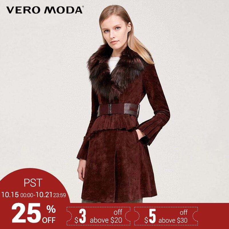 Vero Moda Бренд 2018 Новинка женская куртка натуральная кожа свинцовая мех лисий в воротнике женское пальто шуба 317428522