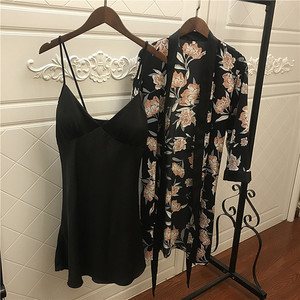 Image 3 - 2019 Women Satin Sleepwear Robe Sexy Silk Robe Gown Set Sleep Lounge Indoor Clothing Ladies Nightwear Nightdress With Chest Pads