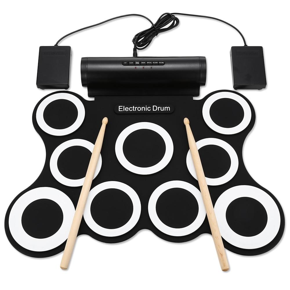 G3009 Kit de batterie numérique Portable à 9 rouleaux avec métronome intégré
