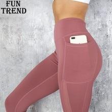 Calças esportivas sólidas de bolso, calças de malha de cintura alta, leggings esportivas femininas para treino de yoga, corrida, roupas esportivas, femininas