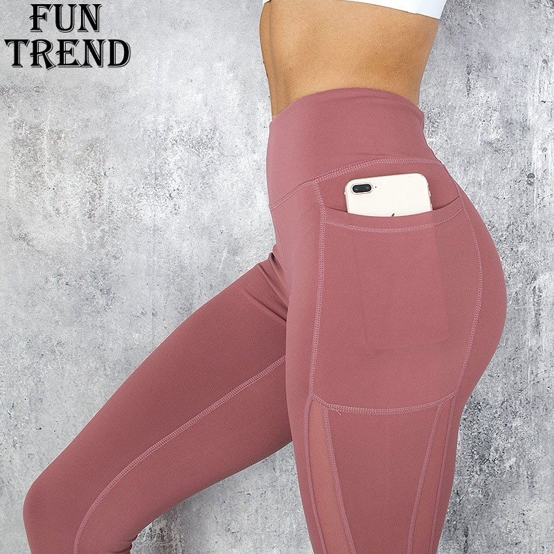 Pocket Solid Sport Yoga Pants High Waist Mesh Sport Leggings Fitness Women Yoga Leggings Training Running Pants Sportswear WomenYoga Pants   -