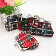 New Womens Wallets and Purses Small Lady Retro Vintage Plaid Coin Purses Girl Canvas Hasp Women's purses portefeuille femme