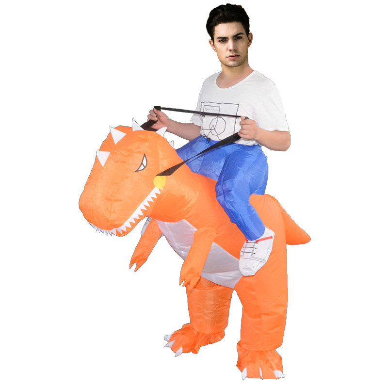 Carnival Party Inflatable Costume Clothing Mascot Cosplay Outdoor Children Toys Orange Dinosaur Cosplay Supplies for Fancy Dress