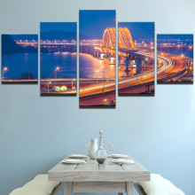 5 Panel City Bridge Night Landscape Modular Picture Canvas Print Modern Decor Wall Art Poster Living Room Artwork