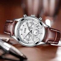 CIVO メンズ腕時計リロイ Hombre 防水カレンダーアナログクォーツ男性腕時計ブラウン本革腕時計リロイデ Hombre