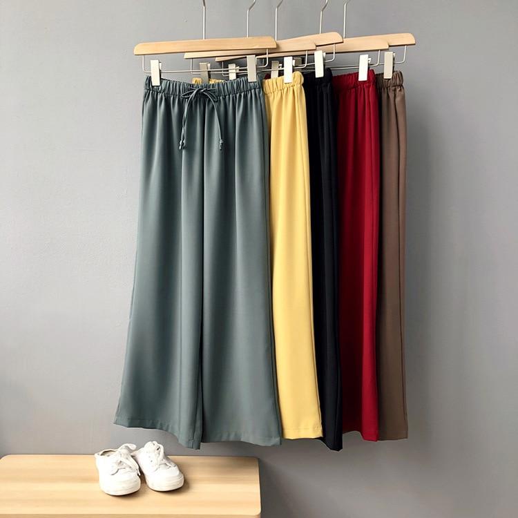 Mooirue Summer Spring   Wide     Leg     Pants   Tie Waist Femme Office Ol High Waist Female Trousers Red Yellow Bottom