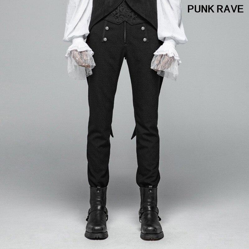 Gothique Figure motif boutons décoration hommes noir pantalon décontracté militaire haute qualité simple fête pantalon PUNK RAVE OK-360XCM