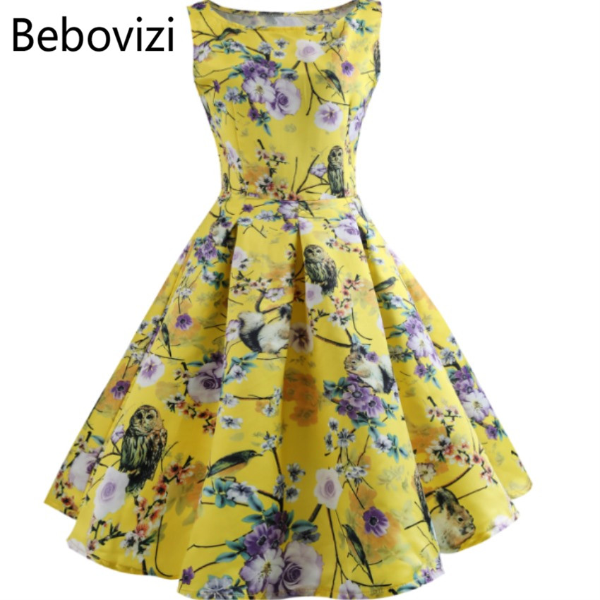 Detail Feedback Questions about Bebovizi Fashion o neck Summer yellow 2018  sleeveless Party Midi Dresses Vintage Rockabilly Festa for Women Clothes  Dress on ... 1c73b794f62c