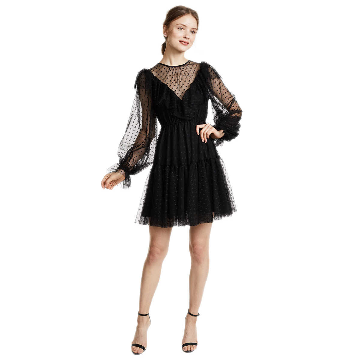 2b73337e2826 ... HYH Haoyihui Brand Women Black Mini Dress Wave point Chiffon Lantern  Long Sleeve Female Sexy Vestido ...
