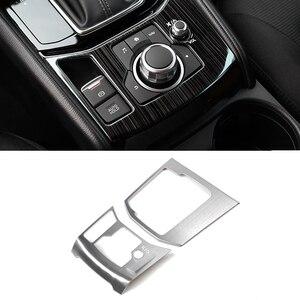 Image 2 - Dla Mazda CX 5 CX 5 2017 2018 ze stali nierdzewnej zmiany biegów samochodu elektroniczny hamulec ręczny Panel obudowa tylko LHD