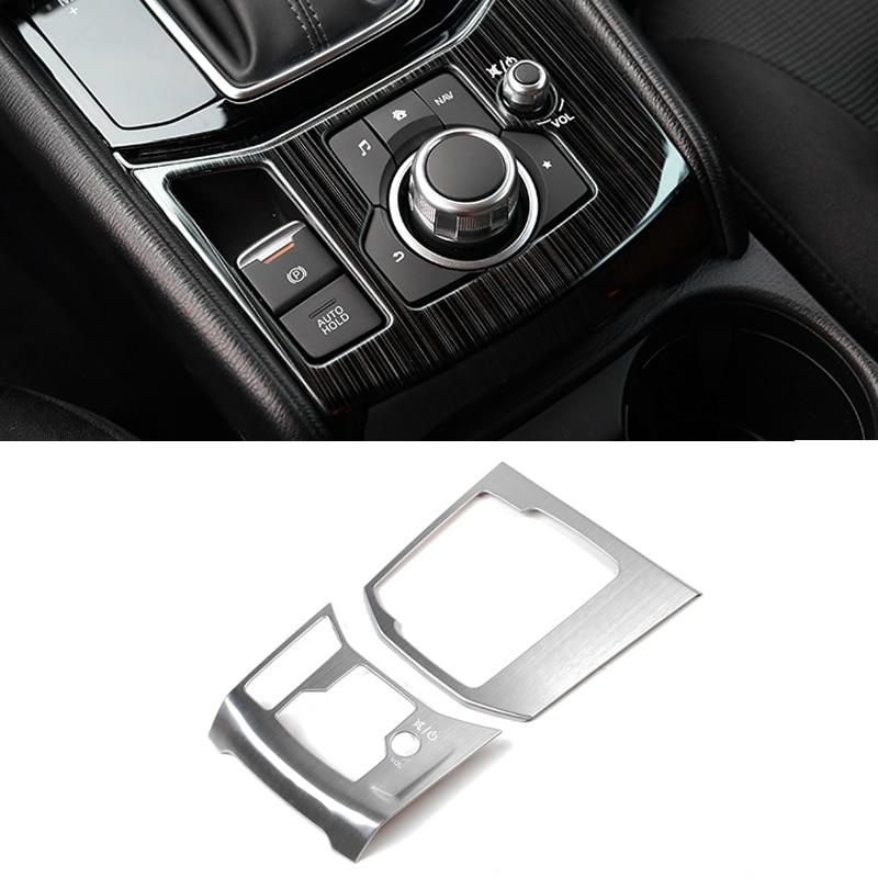 Image 2 - Для Mazda CX 5 CX 5 2017 2018 нержавеющая сталь переключения передач автомобиля электронный ручной тормоз панель Крышка только LHD-in Лепнина для интерьера from Автомобили и мотоциклы