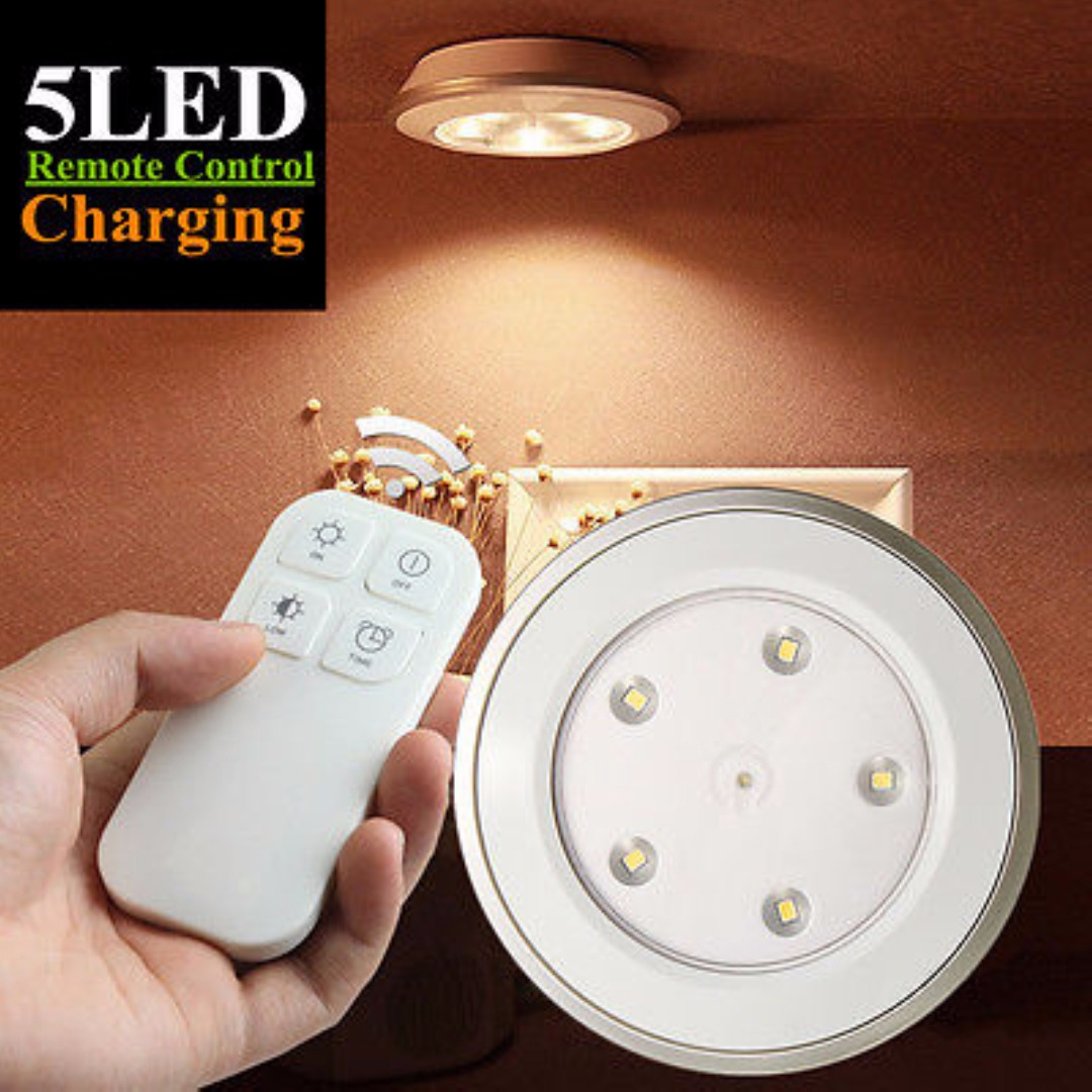 IKVVT White 5 LED Night Light Lamp Stick-on Cabinet Closet Wardrobe Wireless Remote Control
