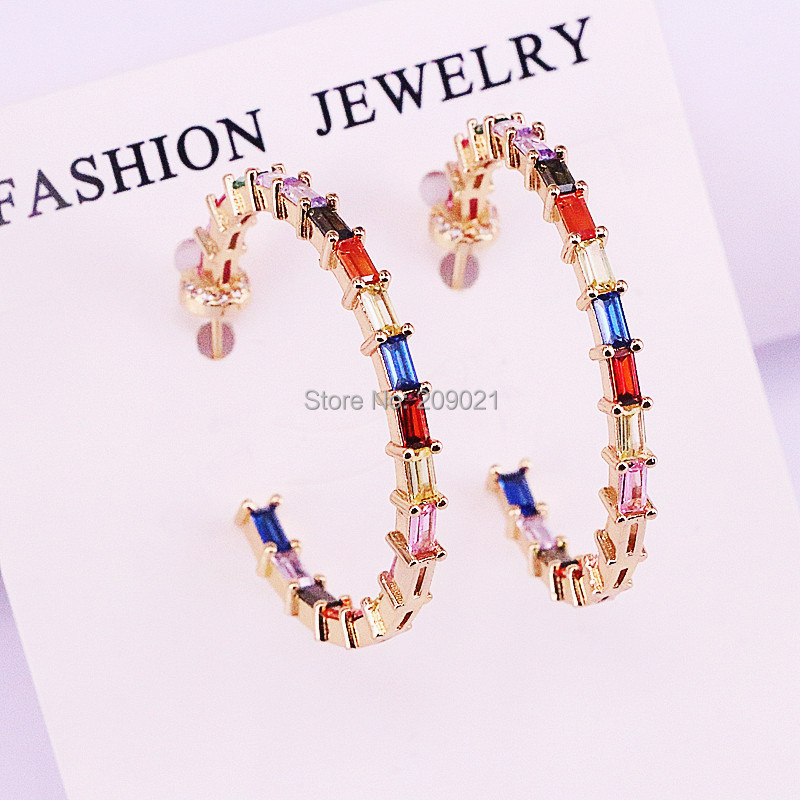 5Pairs Fashion jewelry Gold color colorful cz paved round circle geometric stud earring new shiny rainbow