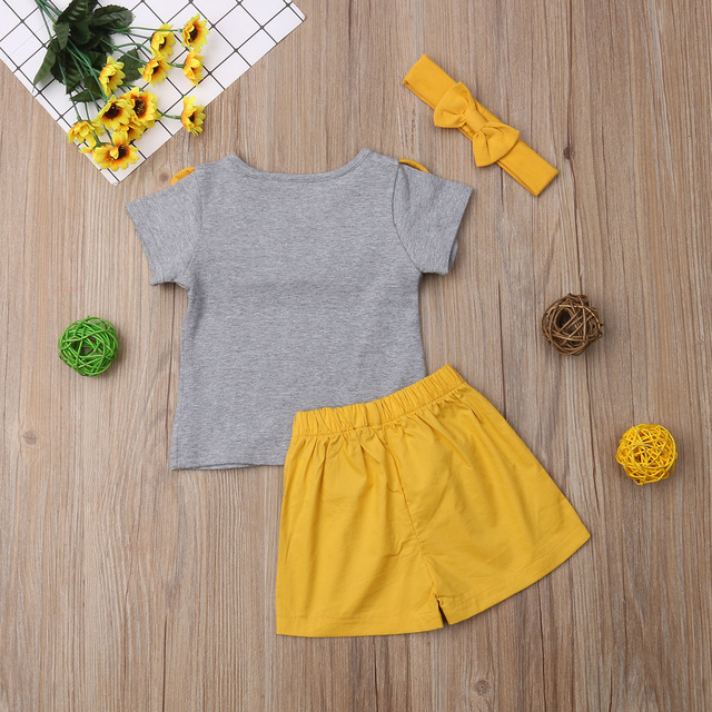 Family Matching Outfits Big/Little Sister Brother Ruffle Tops T-shirt Shorts Outfits Set