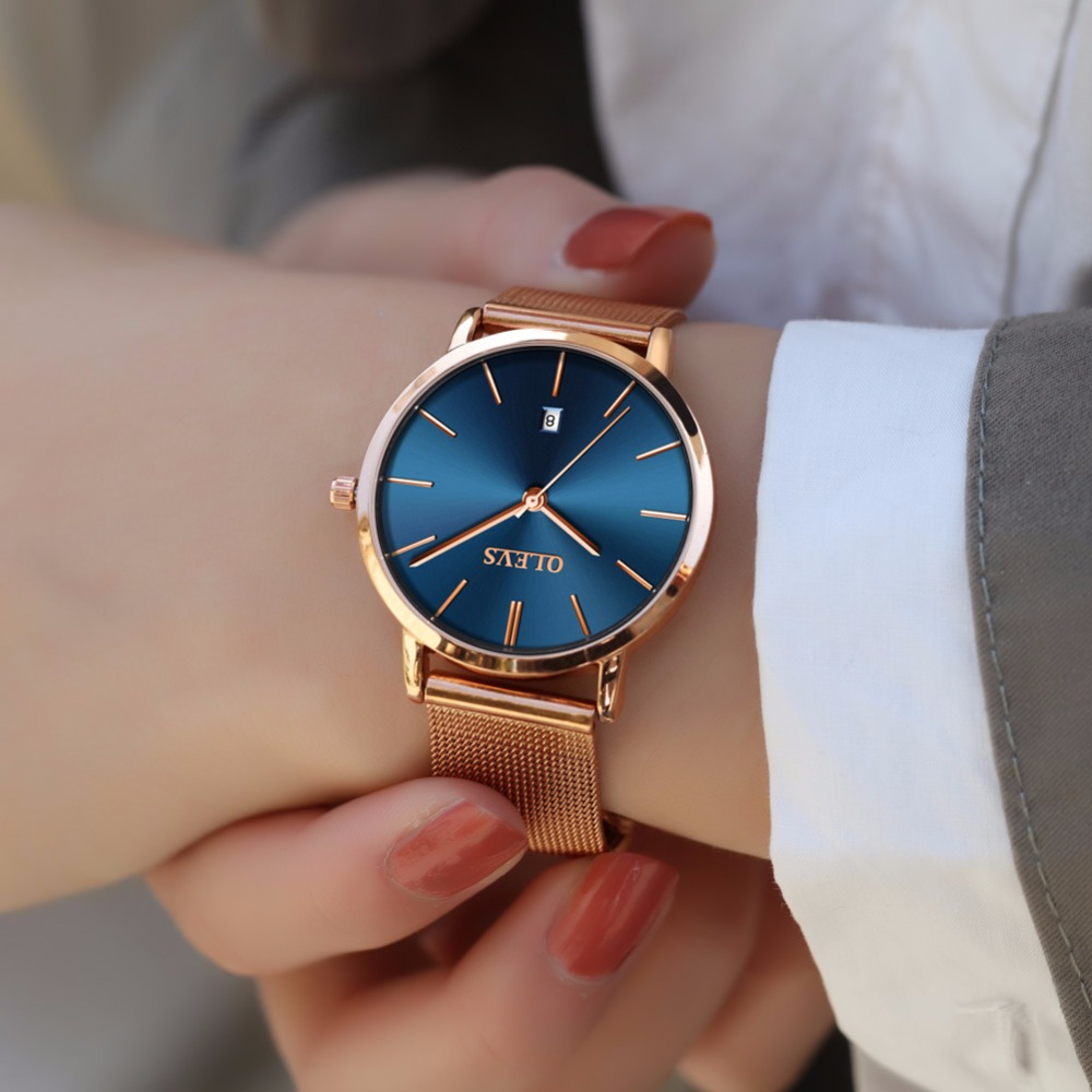 купить OLEVS Steel Rose gold watch women watches top brand luxury JAPAN Movement Quartz Ultra thin ladies watch Calendar montre femme по цене 3930.26 рублей
