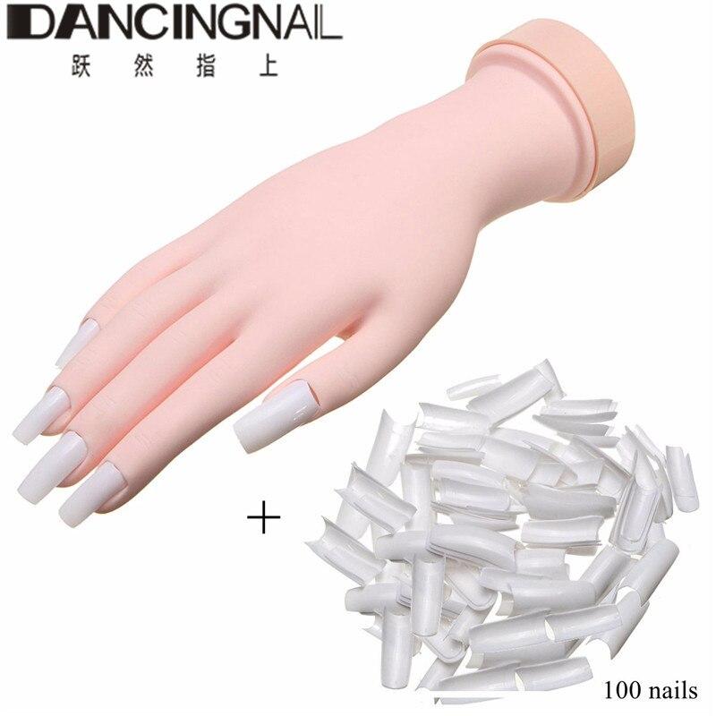 Prótese de silicone prática mão flexível macio prática unha arte mão + 100 unhas para nova beleza unhas arte manicure ferramentas