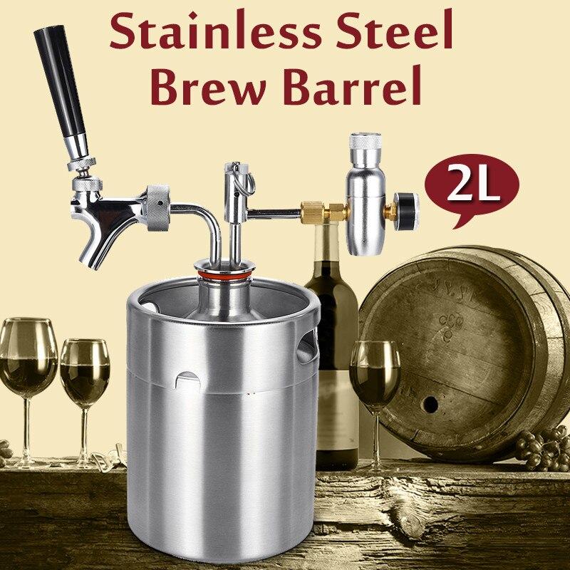 2L vin de table Bière Brassage Artisanat distributeur de bière Growler Système fût de bière Mini acier inoxydable fût de bière Avec Robinet Sous Pression