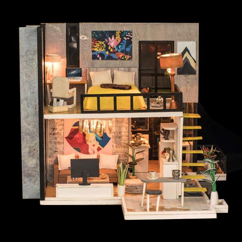 Assemblage bâtiment modèle jouet maison de poupée en bois maison de poupée miniature à monter soi-même Kit de meubles artisanat cadeau d'anniversaire pour 3 + Y enfants - 6