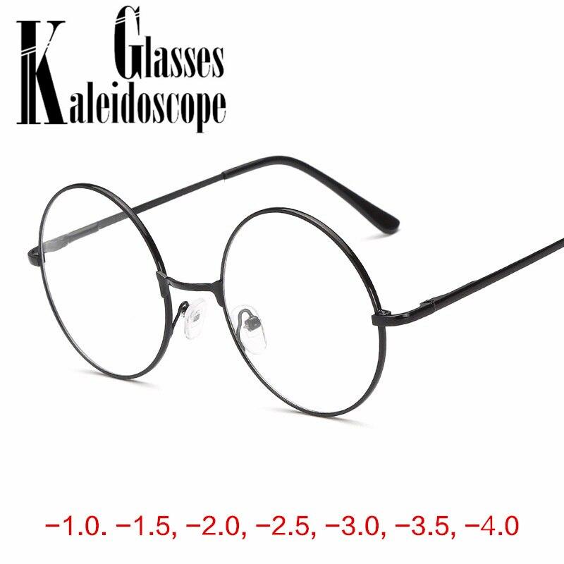 Men Women Retro Metal Round Frame Glasses For  Nearsighted Myopia Reading Glasses  -1.0 -1.5 -2 -2.5 -3 -3.5 -4