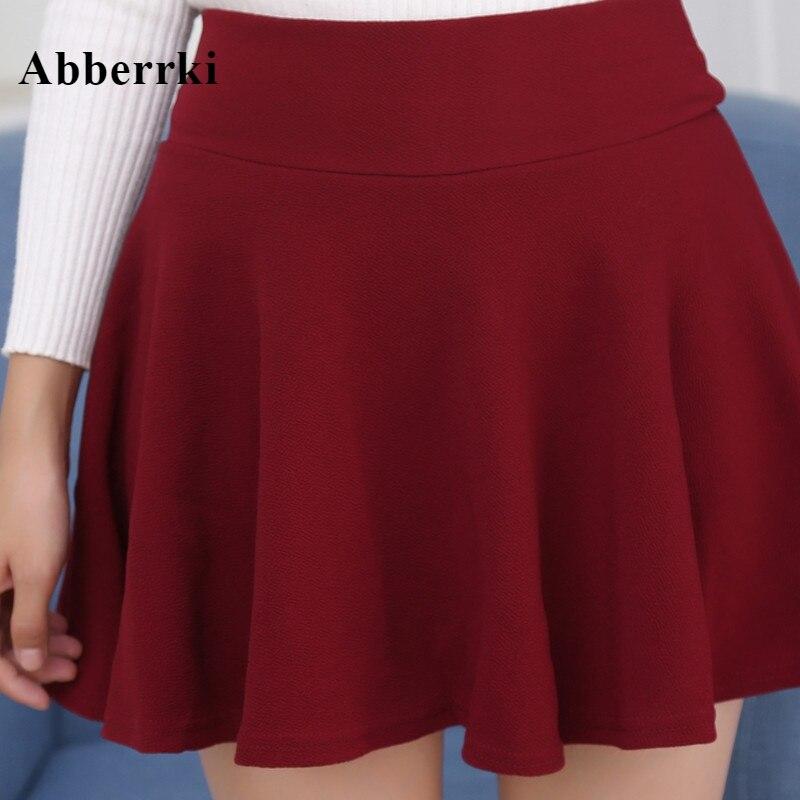 Women's Skater Skirts Pleated Skirt Flared A Line Circle Stretch Waist Skater Skirt Korean Mini Skirt Plus Size Jupe Femme